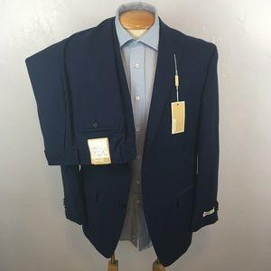 New Michael Kors 2 piece mens suit blue 40s ea0011